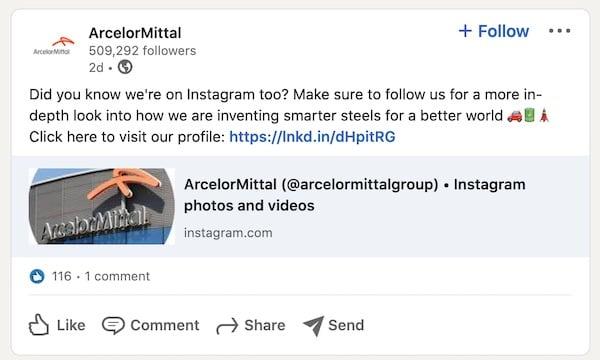 ArcelorMittal Linkedin Post Example