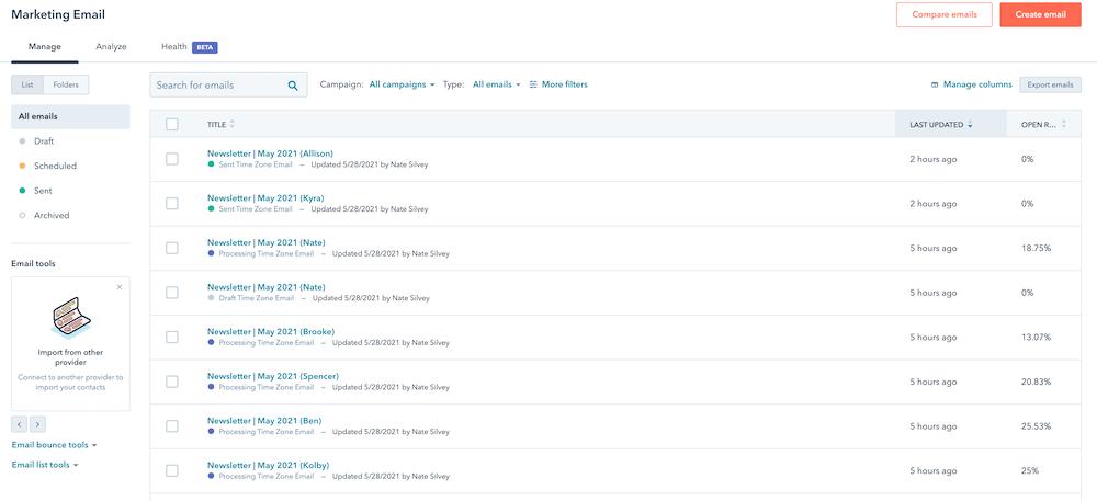 HubSpot Email Marketing Tool